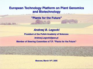 European Technology Platform on Plant Genomics and Biotechnology