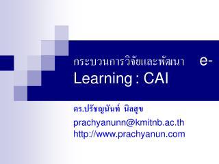 กระบวนการวิจัยและพัฒนา     e-Learning : CAI