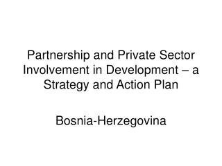Partnership and Private Sector Involvement in Development – a Strategy and Action Plan