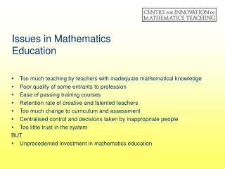 Issues in Mathematics Education