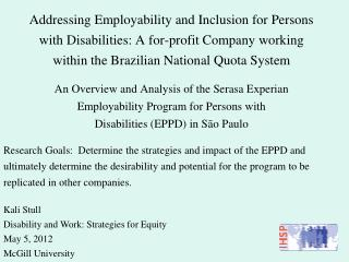 Kali Stull Disability and Work: Strategies for Equity May 5, 2012 McGill University