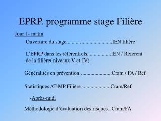 EPRP. programme stage Filière