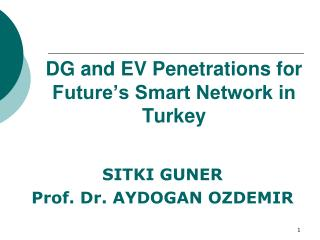 DG and EV Penetrations for Future's Smart Network in Turkey