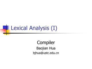 Lexical Analysis (I)