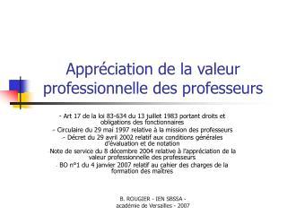 Appréciation de la valeur professionnelle des professeurs