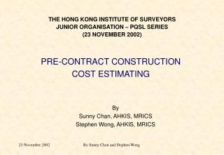 THE HONG KONG INSTITUTE OF SURVEYORSJUNIOR ORGANISATION
