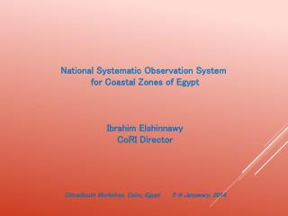 National Systematic Observation System  for Coastal Zones of Egypt Ibrahim Elshinnawy