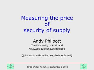 Measuring the price  of  security of supply