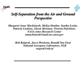 Self-Separation from the Air and Ground Perspective