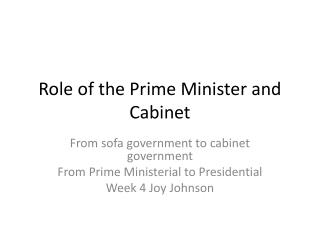 Role of the Prime Minister and Cabinet