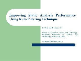 Improving Static Analysis Performance Using Rule-Filtering Technique