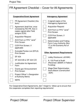 FR Agreement Checklist – Cover for All Agreements