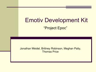 "Emotiv Development Kit ""Project Epoc"""