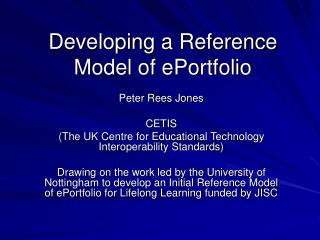 Developing a Reference Model of ePortfolio