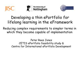 Developing a thin ePortfolio for lifelong learning in the eFramework