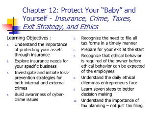 Learning Objectives : Understand the importance of protecting your assets through insurance