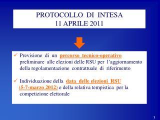 PROTOCOLLO  DI  INTESA  11 APRILE 2011