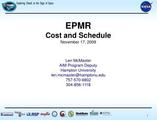 EPMR Cost and Schedule November 17, 2009