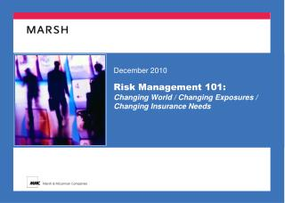 Risk Management 101: Changing World / Changing Exposures / Changing Insurance Needs