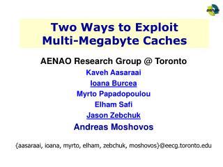 Two Ways to Exploit  Multi-Megabyte Caches