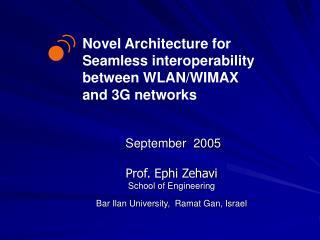 September  2005  Prof. Ephi Zehavi School of Engineering  Bar Ilan University,  Ramat Gan, Israel
