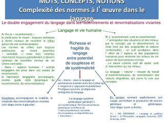MOTS, CONCEPTS, NOTIONS Complexité des normes à l ' œuvre dans le langage