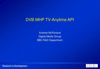 DVB MHP TV-Anytime API