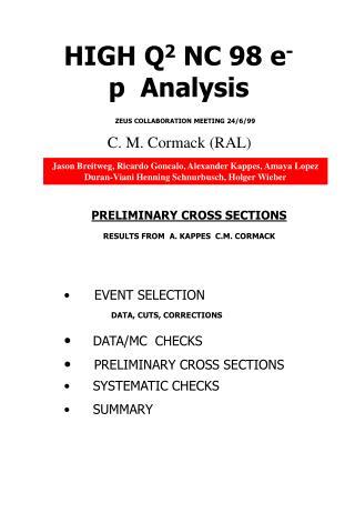 HIGH Q 2  NC 98 e -  p Analysis