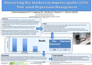 Discovering Bio-markers to improve quality of life -Post-natal Depression Management