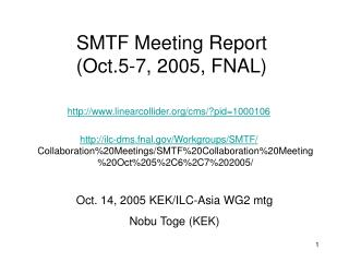SMTF Meeting Report (Oct.5-7, 2005, FNAL)