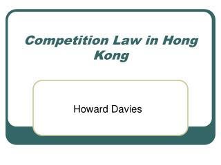Competition Law in Hong Kong