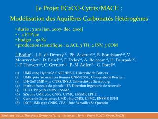 Le Projet  EC2CO-Cytrix/ MACH : Modélisation des Aquifères Carbonatés Hétérogènes