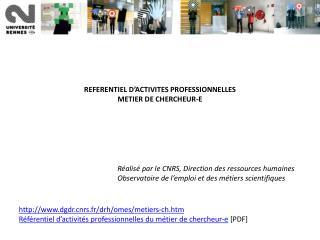 REFERENTIEL D'ACTIVITES PROFESSIONNELLES METIER DE CHERCHEUR-E
