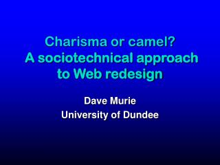 Charisma or camel? A sociotechnical approach to Web redesign