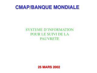 CMAP/BANQUE MONDIALE