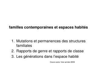 familles contemporaines et espaces habités