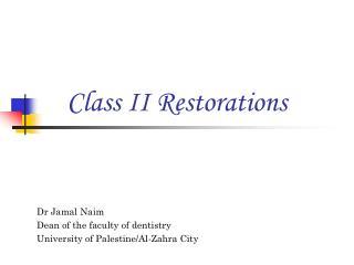 Class II Restorations