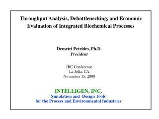 Throughput Analysis, Debottlenecking, and Economic Evaluation of Integrated Biochemical Processes