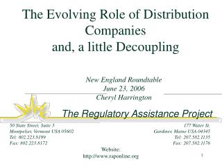 The Evolving Role of Distribution Companies and, a little Decoupling