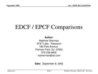 EDCF / EPCF Comparisons