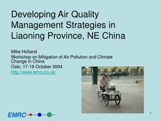 Developing Air Quality Management Strategies in Liaoning Province, NE China