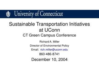 Sustainable Transportation Initiatives  at UConn CT Green Campus Conference