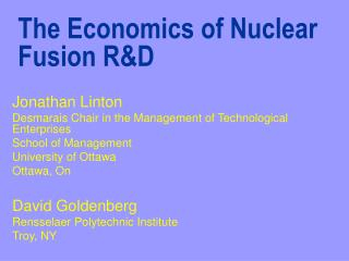 The Economics of Nuclear Fusion RD