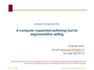 project proposal for A computer-supported authoring tool for argumentative writing