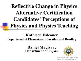 Kathleen Falconer Department of Elementary Education and Reading Daniel MacIsaac