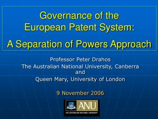 Governance of the  European Patent System:  A Separation of Powers Approach