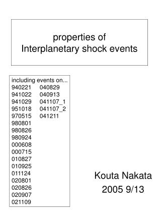 properties of  Interplanetary shock events