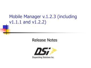 Mobile Manager v.1.2.3 (including v1.1.1 and v1.2.2)