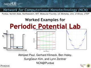 Worked Examples for Periodic Potential Lab