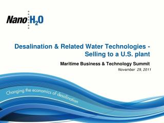 Desalination & Related Water Technologies - Selling to a U.S. plant